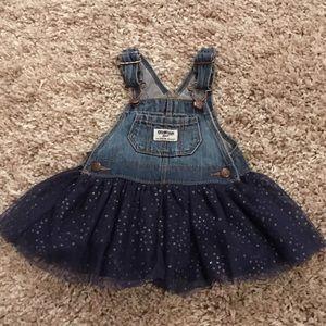 Oshkosh overall dress polka dot skirt 6-9 months